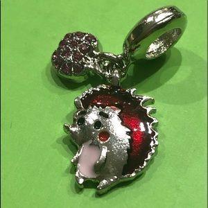 NEW•Silver Baby Hedgehog w/apple DIY charm